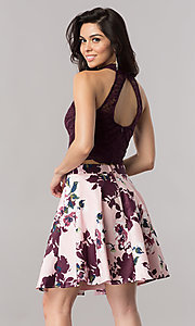 Image of short two-piece homecoming dress with print skirt. Style: CT-3483SU8C Back Image