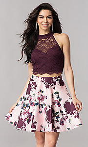 Short Two-Piece Homecoming Dress with Print Skirt