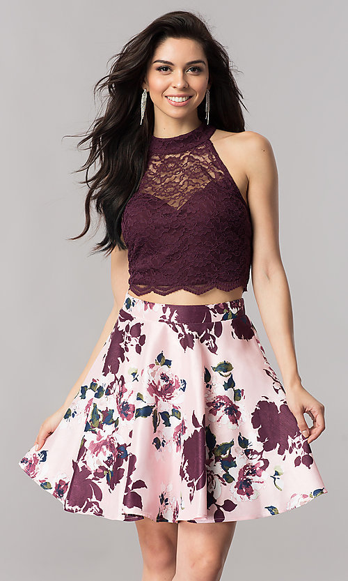 Image of short two-piece homecoming dress with print skirt. Style: CT-3483SU8C Front Image