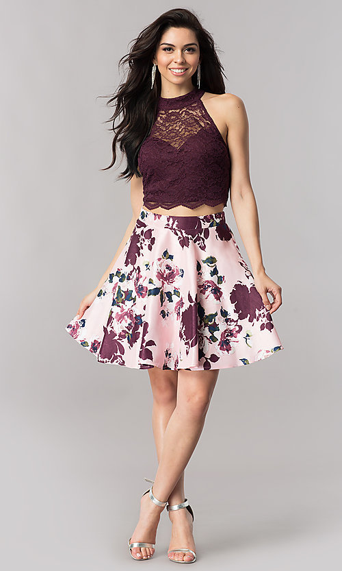 Image of short two-piece homecoming dress with print skirt. Style: CT-3483SU8C Detail Image 2