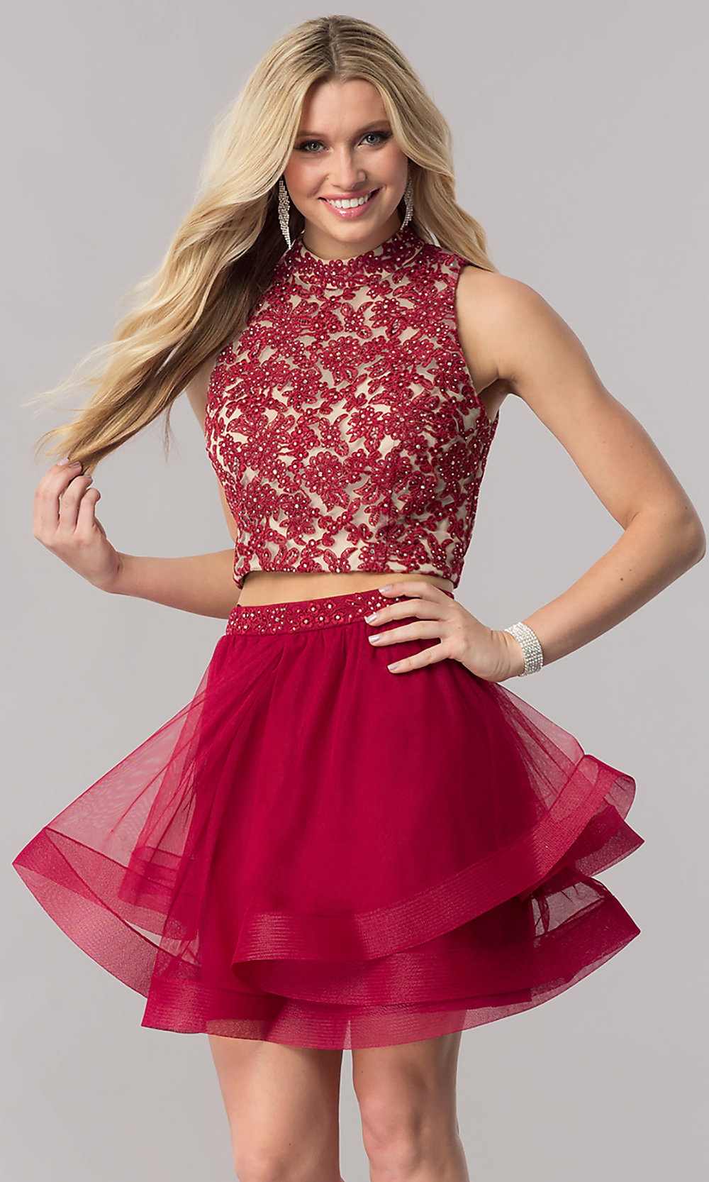 Burgundy Red Two-Piece Homecoming Dress - PromGirl