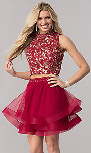 Image of two-piece short burgundy red homecoming dress. Style: CT-8145ZJ9B Front Image