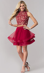 Image of two-piece short burgundy red homecoming dress. Style: CT-8145ZJ9B Detail Image 1