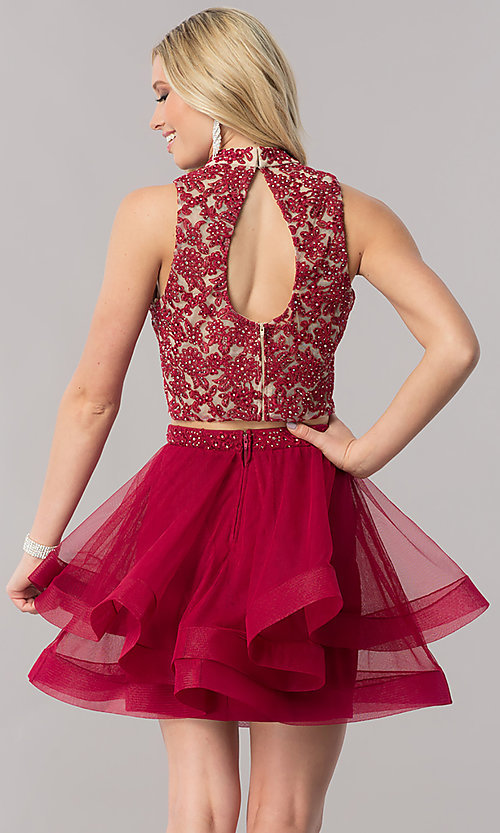 Image of two-piece short burgundy red homecoming dress. Style: CT-8145ZJ9B Back Image