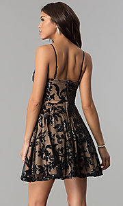 Image of short homecoming dress with sequined floral design. Style: CT-8385AW3B Back Image