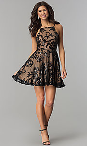Image of short homecoming dress with sequined floral design. Style: CT-8385AW3B Detail Image 2