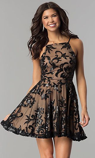 Short Homecoming Dress with Sequined Floral Design