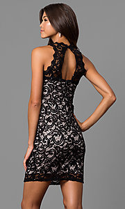 Image of junior-size short lace homecoming dress with cut out. Style: MY-2129YZ1C Back Image