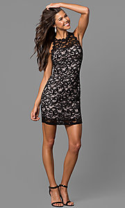 Image of junior-size short lace homecoming dress with cut out. Style: MY-2129YZ1C Detail Image 1