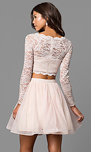 Image of buff pink two-piece sleeved lace-top party dress. Style: MY-4053ZJ1P Back Image