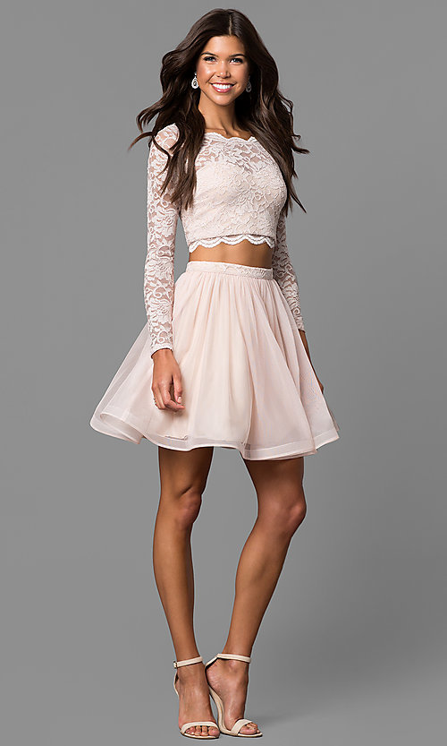 Image of buff pink two-piece sleeved lace-top party dress. Style: MY-4053ZJ1P Detail Image 1