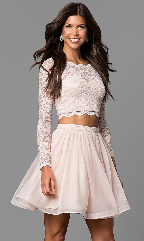 Image of buff pink two-piece sleeved lace-top party dress. Style: MY-4053ZJ1P Front Image
