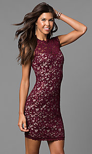 Short Lace Homecoming Party Dress with Cap Sleeves