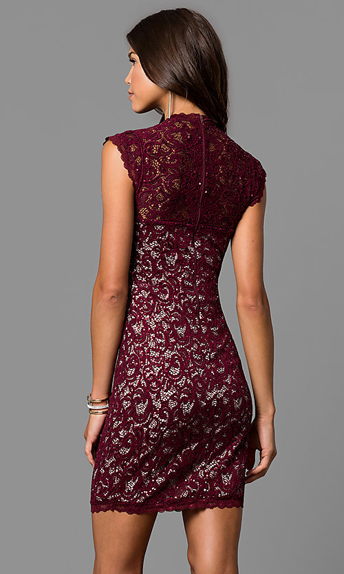 Image of short lace homecoming party dress with cap sleeves. Style: MY-4413XX1C Back Image