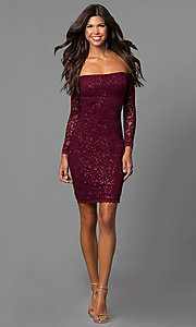Image of off-the-shoulder short homecoming dress with sleeves. Style: MY-4647IW1C Detail Image 2