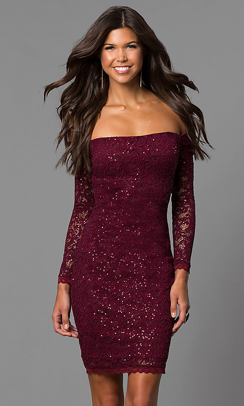 Image of off-the-shoulder short homecoming dress with sleeves. Style: MY-4647IW1C Front Image