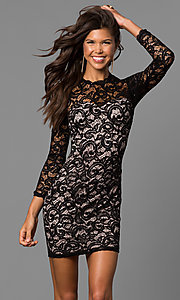 Junior-Size Short Black Lace Homecoming Dress