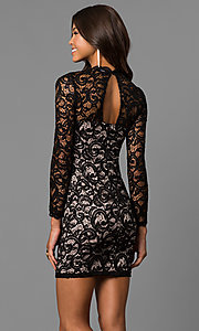 Image of junior-size short black lace homecoming dress. Style: MY-4650IW1C Back Image