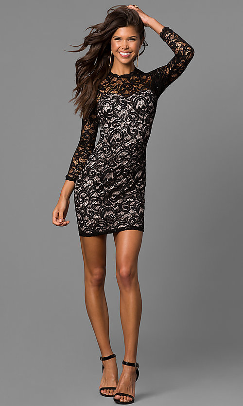 Image of junior-size short black lace homecoming dress. Style: MY-4650IW1C Detail Image 1