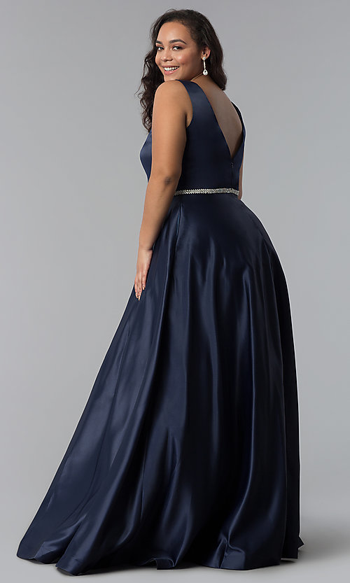 Image of plus-size long satin prom dress with deep v-neckline. Style: DQ-9754P Back Image