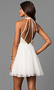Embroidered-Bodice Short Ivory Homecoming Party Dress