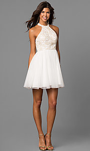 Image of embroidered-bodice short ivory homecoming party dress. Style: MY-4654MT1P Detail Image 1