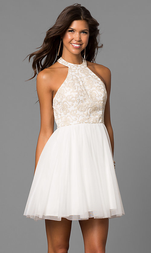 Image of embroidered-bodice short ivory homecoming party dress. Style: MY-4654MT1P Back Image