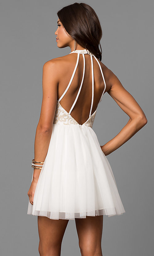 Image of embroidered-bodice short ivory homecoming party dress. Style: MY-4654MT1P Front Image