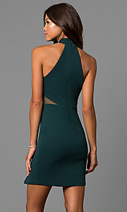 Image of high-neck short green homecoming party dress.  Style: MY-4670US1C Back Image