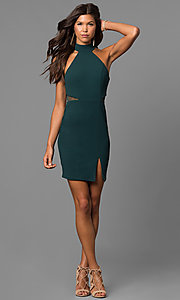 Image of high-neck short green homecoming party dress.  Style: MY-4670US1C Detail Image 1