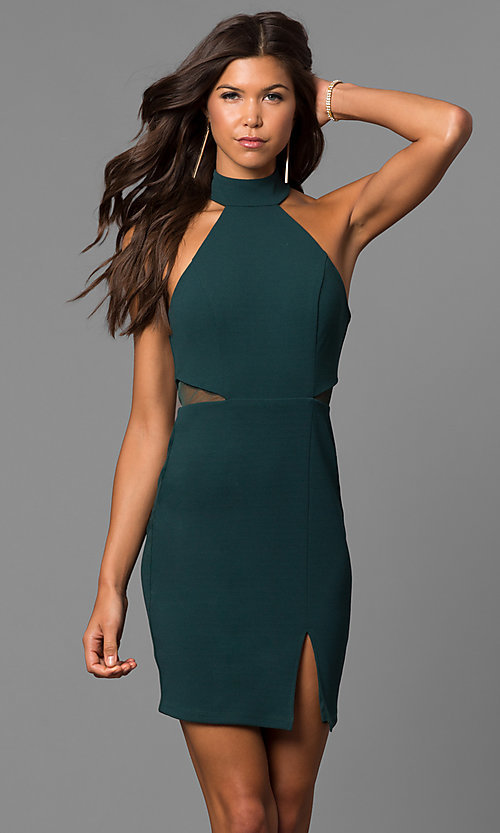 Image of high-neck short green homecoming party dress.  Style: MY-4670US1C Front Image
