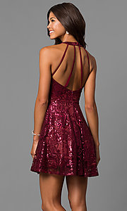 Image of short a-line sequin homecoming dress in merlot red. Style: MY-4672JM1P Back Image