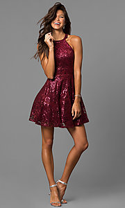 Image of short a-line sequin homecoming dress in merlot red. Style: MY-4672JM1P Detail Image 1