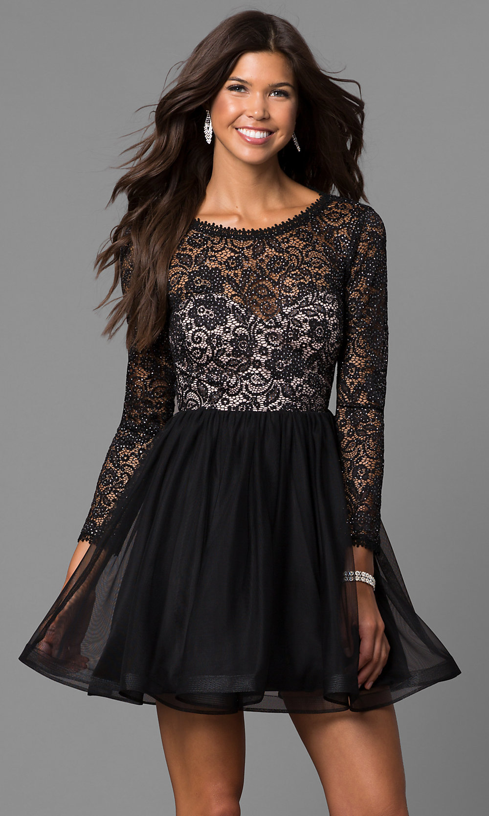 Black Lace Bodice Sleeved Homecoming Dress Promgirl