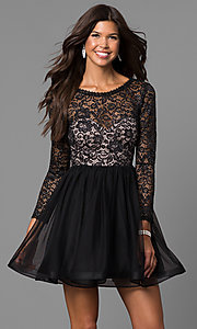 Image of lace-bodice short black homecoming dress with sleeves. Style: MY-4675MT1P Front Image