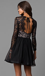Image of lace-bodice short black homecoming dress with sleeves. Style: MY-4675MT1P Back Image