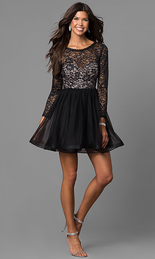 Image of lace-bodice short black homecoming dress with sleeves. Style: MY-4675MT1P Detail Image 1
