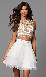 Ivory Two-Piece Homecoming Dress with Lace Top
