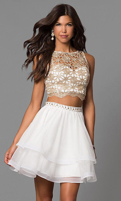 Image of ivory two-piece homecoming dress with lace top. Style: MY-4679BH1P Front Image