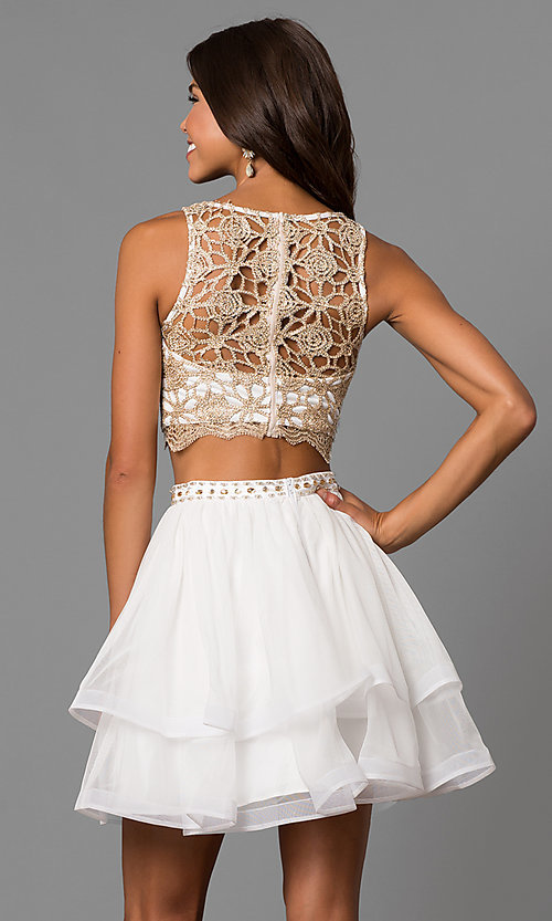 Image of ivory two-piece homecoming dress with lace top. Style: MY-4679BH1P Back Image