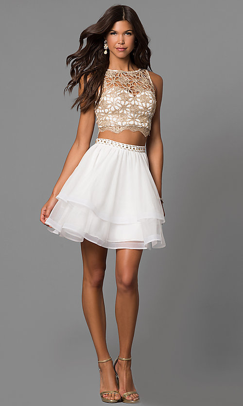 Image of ivory two-piece homecoming dress with lace top. Style: MY-4679BH1P Detail Image 1