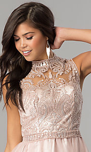Image of high-neck embellished-bodice short homecoming dress. Style: MY-4680MT1P Detail Image 1