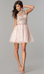 Image of high-neck embellished-bodice short homecoming dress. Style: MY-4680MT1P Detail Image 2