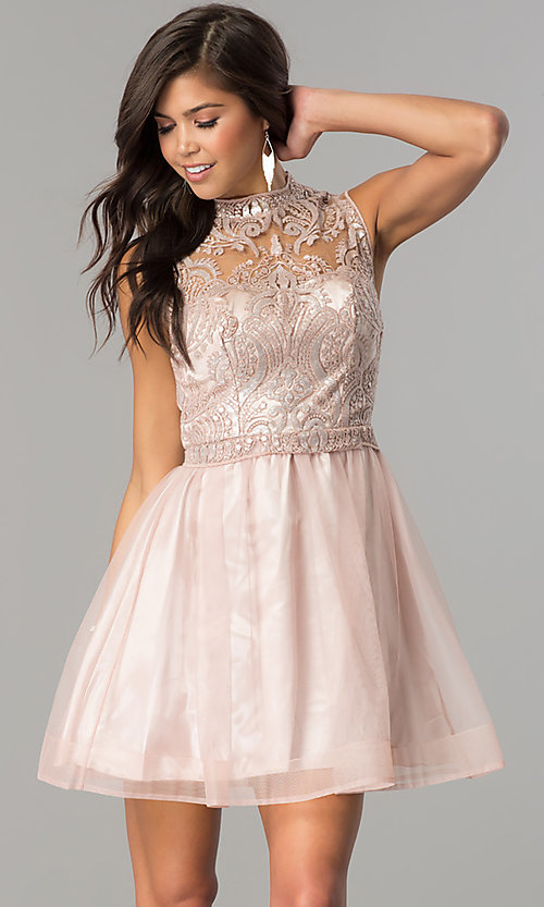 Image of high-neck embellished-bodice short homecoming dress. Style: MY-4680MT1P Front Image