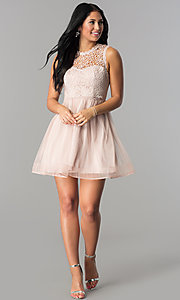 Image of glitter-lace illusion-bodice short homecoming dress.  Style: MY-4681MT1P Detail Image 1