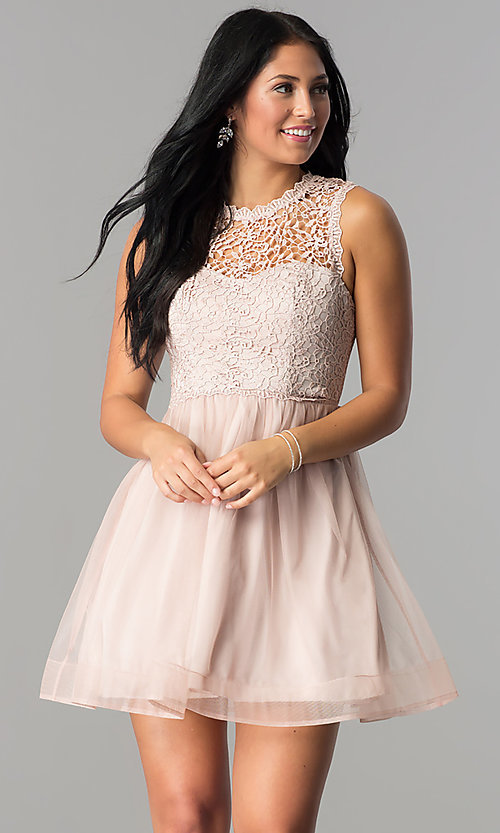 Image of glitter-lace illusion-bodice short homecoming dress.  Style: MY-4681MT1P Front Image