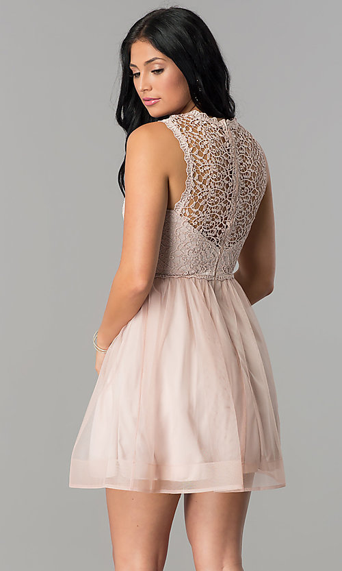 Image of glitter-lace illusion-bodice short homecoming dress.  Style: MY-4681MT1P Back Image