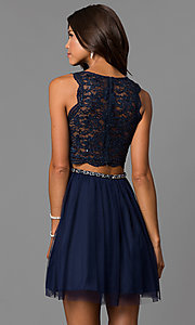 Image of navy blue short homecoming dress with lace bodice. Style: MY-4730TS1P Back Image