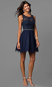 Image of navy blue short homecoming dress with lace bodice. Style: MY-4730TS1P Detail Image 1