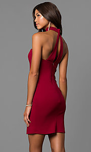 Image of short sweetheart homecoming dress with choker accent. Style: MY-4766US1C Front Image